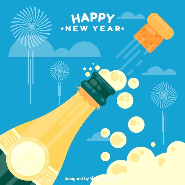 Новогодний фон с бутылкой шампанского Бесплатные векторы