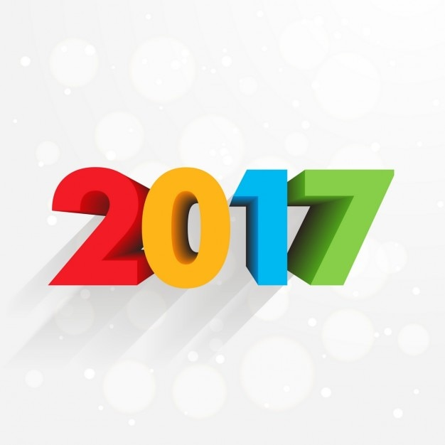 New year background with colorful 3d\ numbers