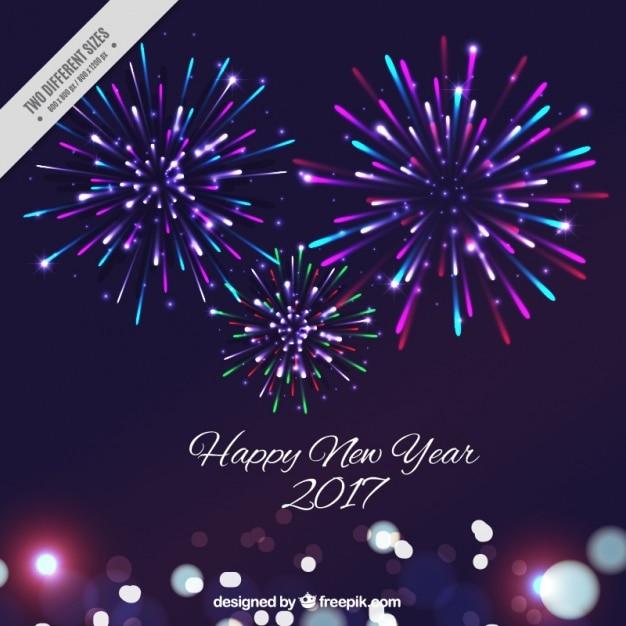 new year background with colorful fireworks vector free
