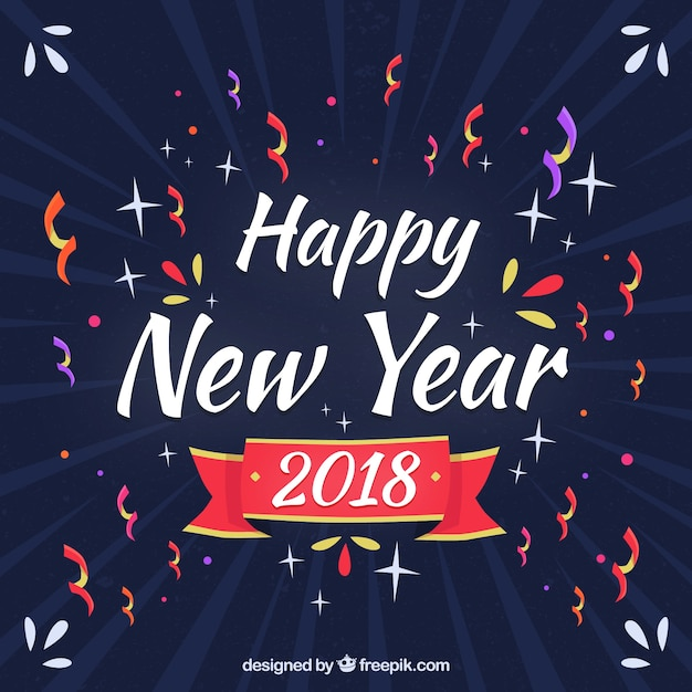 new year background with confetti free vector