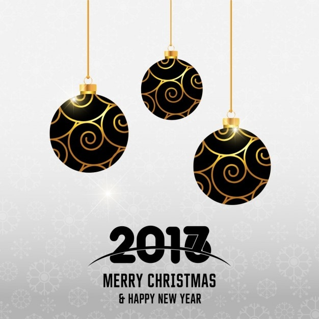 New year background with elegant christmas balls Free Vector