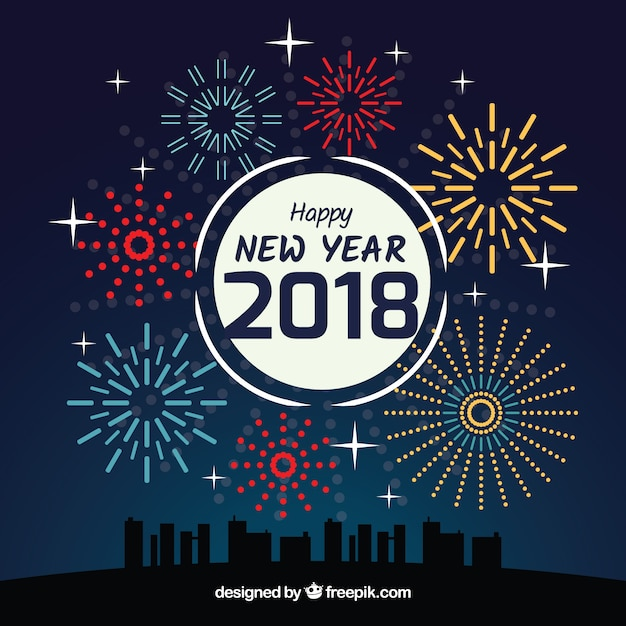 new year background with fireworks vector free download