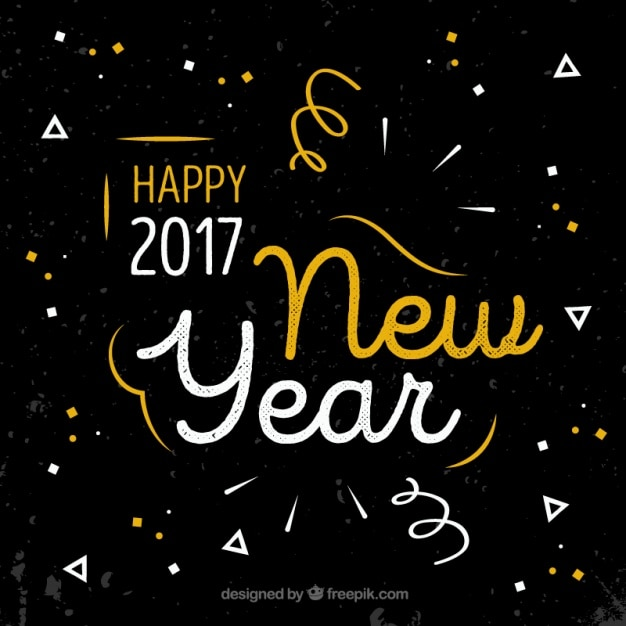 New year background with geometric shapes in flat design Free Vector