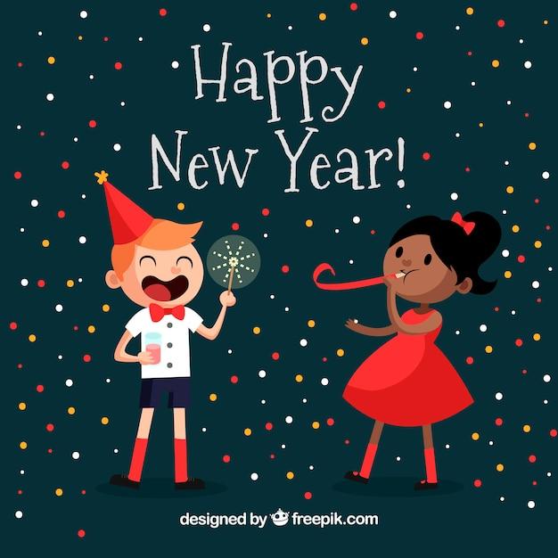New year background with happy children