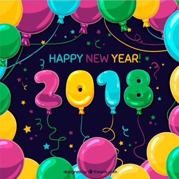 New year background with many colourful balloons