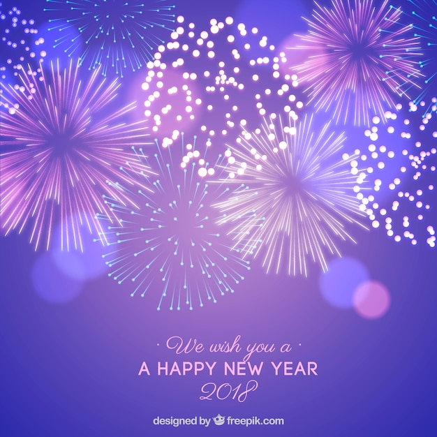 new year background with purple fireworks free vector