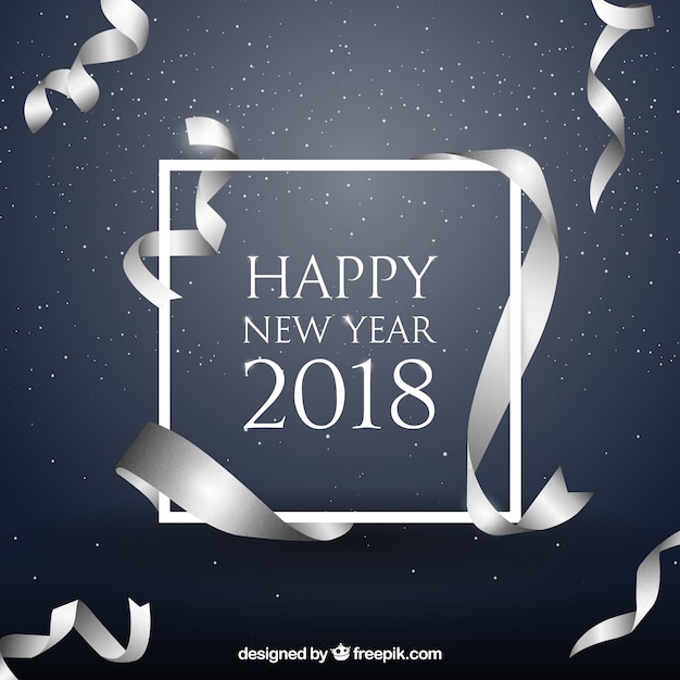 new year background with realistic silver ribbon free vector
