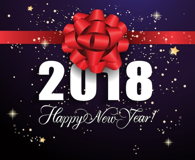 new year background with red ribbon free vector