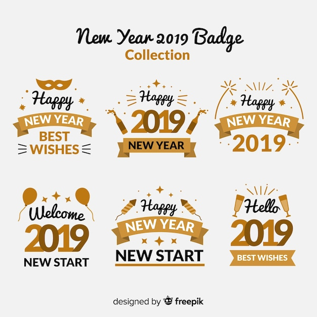 New year badge collection with golden style Free Vector
