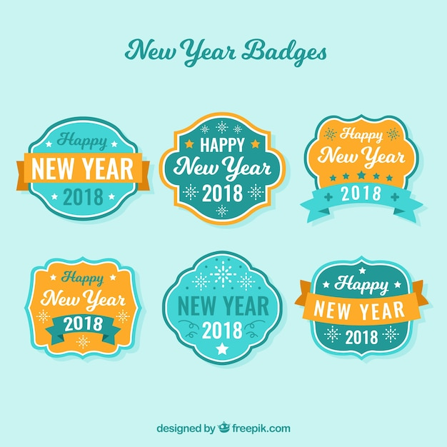 New year badges in turquoise and orange
