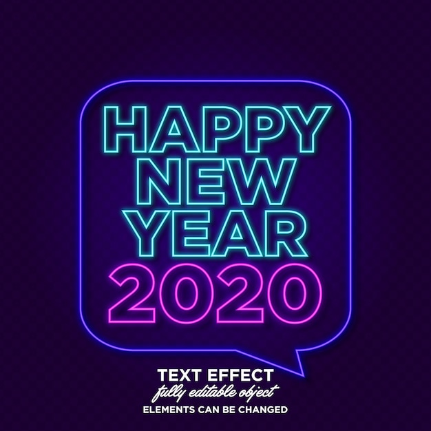 New year banner with neon effect Premium Vector