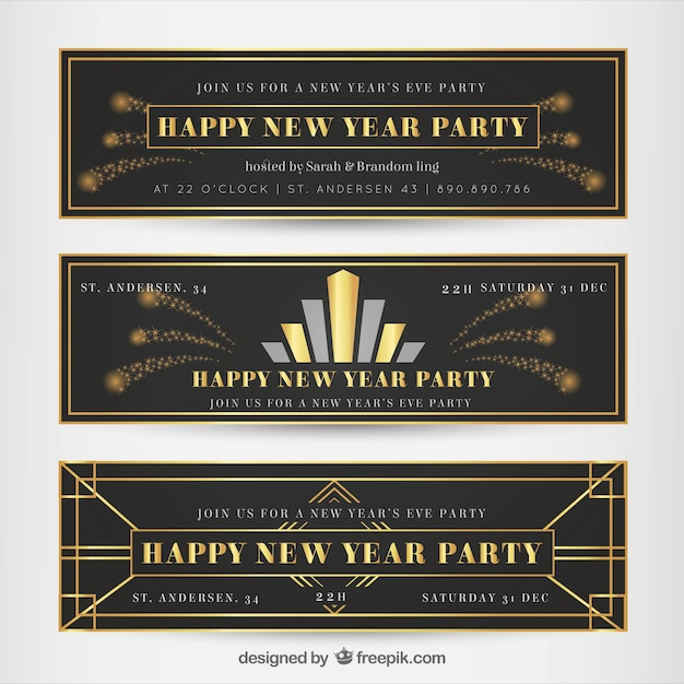 New year banners in art deco style Vector | Free Download