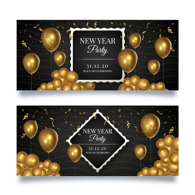 New year banners template Free Vector