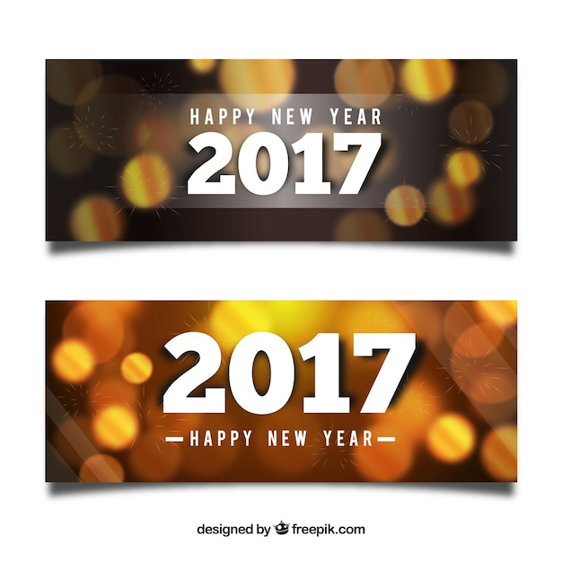 New year banners with bokeh effect