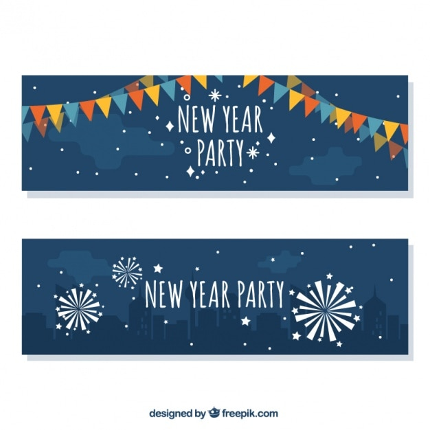 New year banners with garlands and\ fireworks