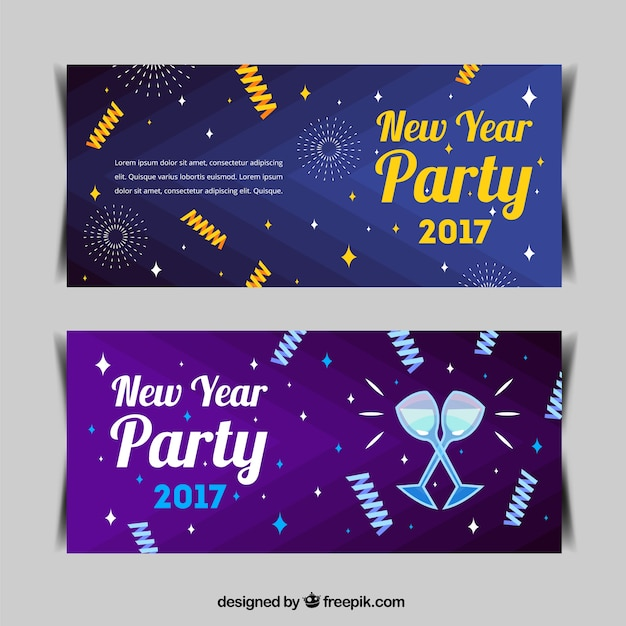 New year banners with party elements