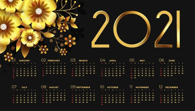 New year black and golden calendar  with flowers Free Vector