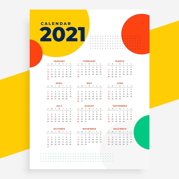 New year  calendar  in circles style Free Vector