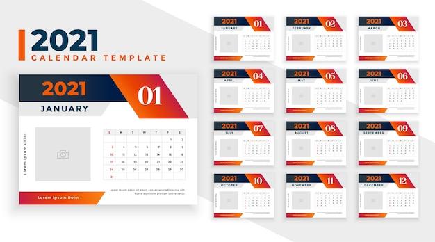 New year calendar  in geometric shape style Free Vector