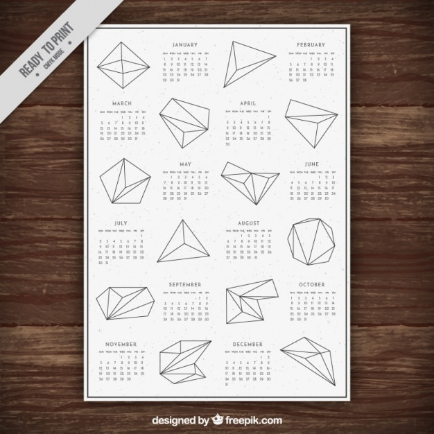 New year calendar with geometric shapes Free Vector