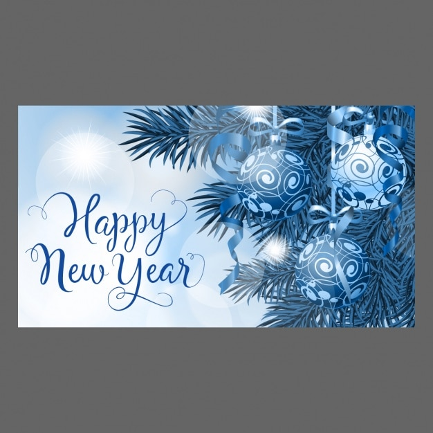 Happy new year card with winter symbols vector | free download.