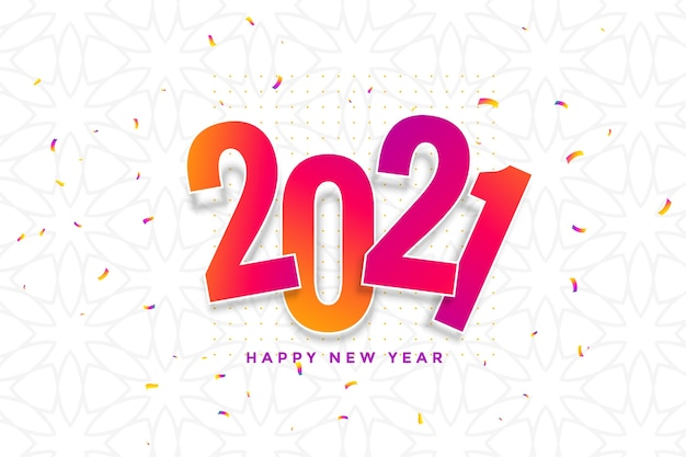 New year card  with confetti Free Vector