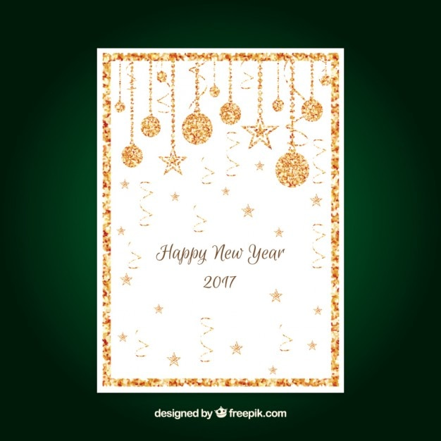 new year card with golden glitter free vector