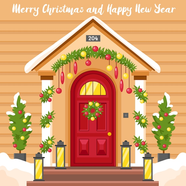 New year card with house decorated for christmas Free Vector