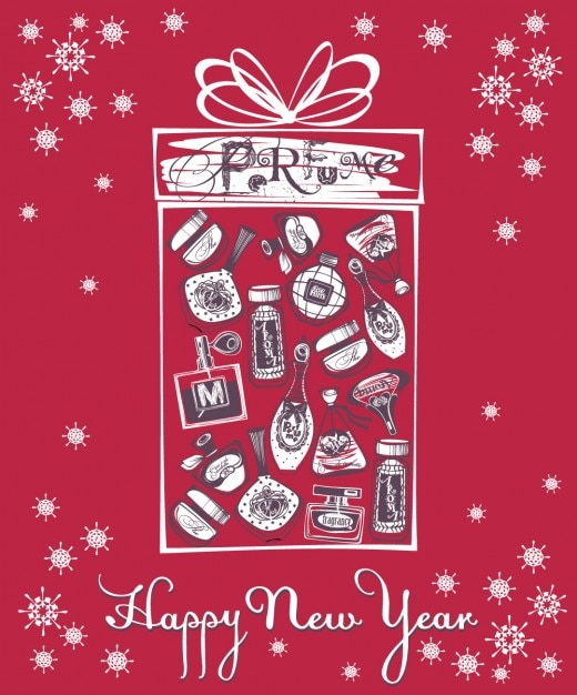 New year card with perfume bottles Vector | Free Download