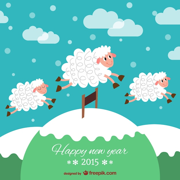 new year card with sheep free vector