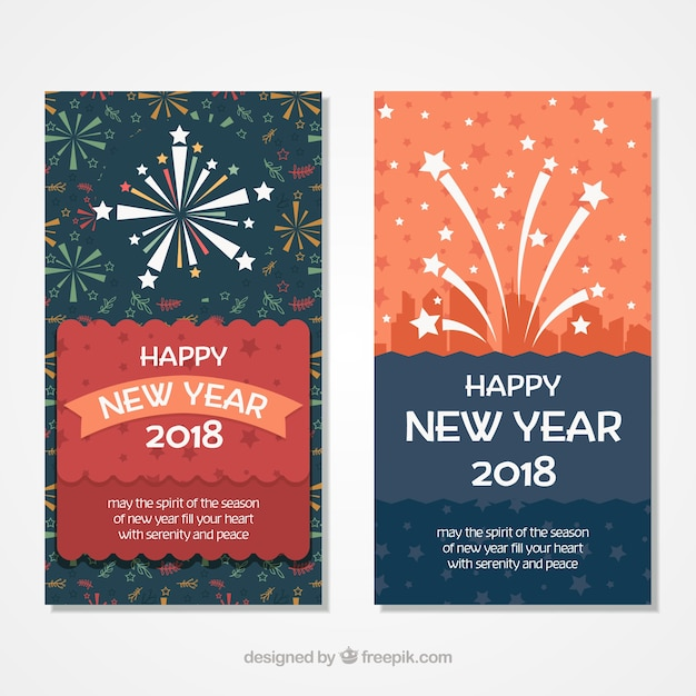 new year cards with fireworks free vector
