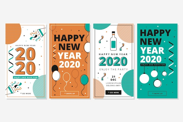 New year celebration instagram story collection Free Vector