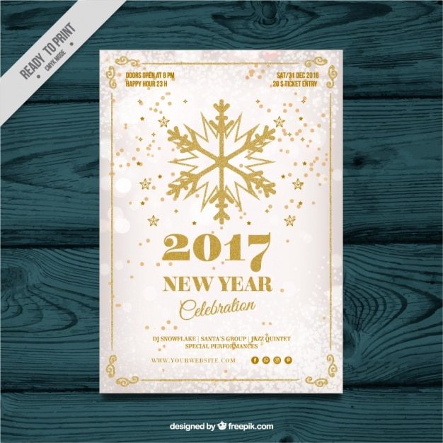 New year celebration invitation with golden snowflake Free Vector
