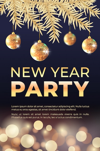 New year celebration party banner with golden christmas tree, balls and bokeh lights. Premium Vector
