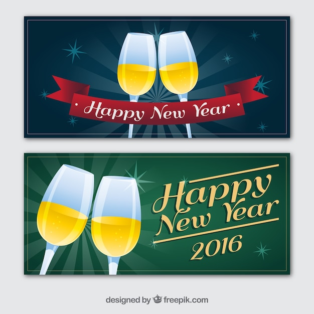 New year champagne banners Free Vector