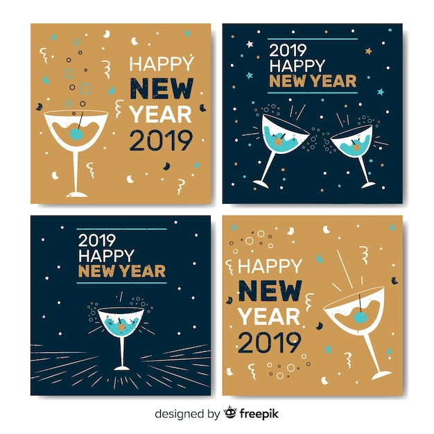 New year cheers cards Free Vector