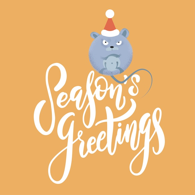 New year and christmas background with rat - symbol of the year. holiday text season's greetings Premium Vector