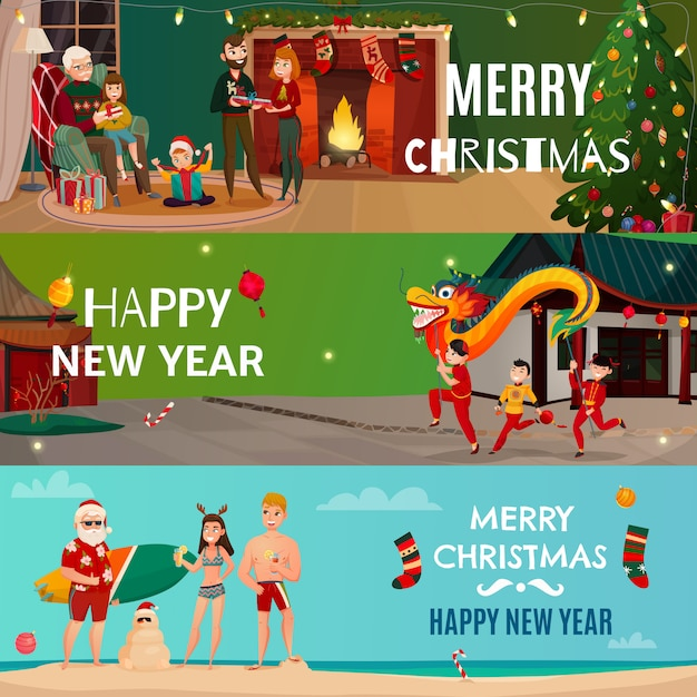 New year and christmas banners Free Vector