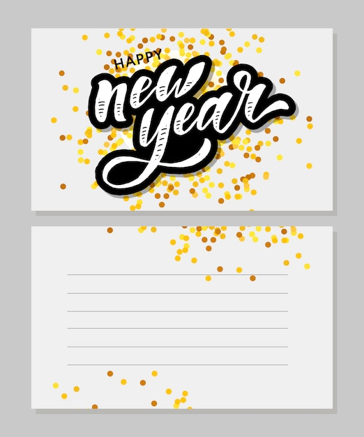 New year christmas lettering calligraphy brush text holiday sticker gold illustration Premium Vector