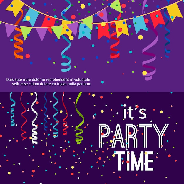 New year and christmas party banners set Premium Vector
