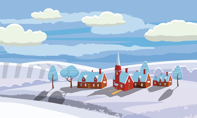New year and christmas winter landscape background. countryside, rural. vector illustration. cartoon style Premium Vector