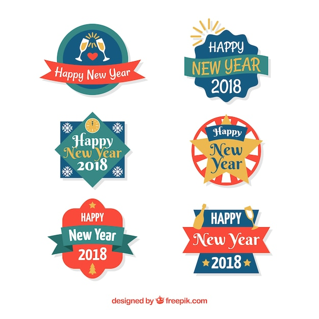 New year collection of colourful badges