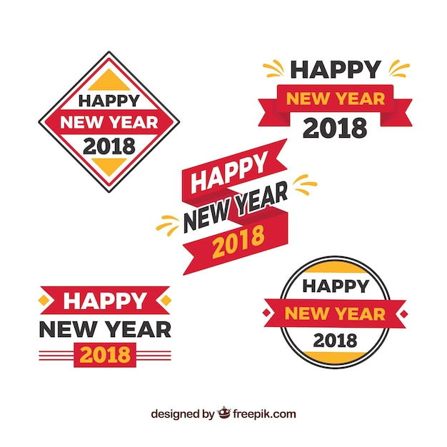 New year collection of stickers