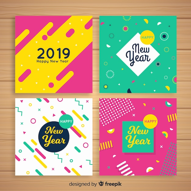 New year colorful cards pack Free Vector