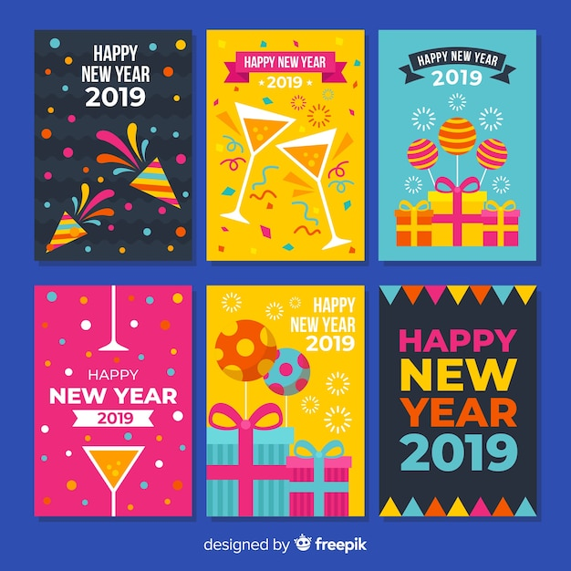 New year colorful elements cards pack Free Vector