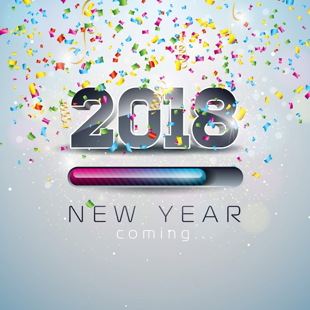 New year coming illustration with 3d number and progress bar