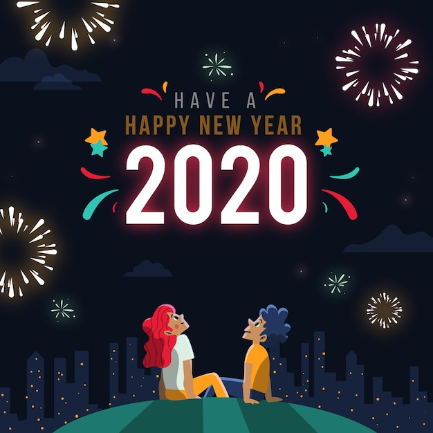 New year concept in hand drawn Free Vector