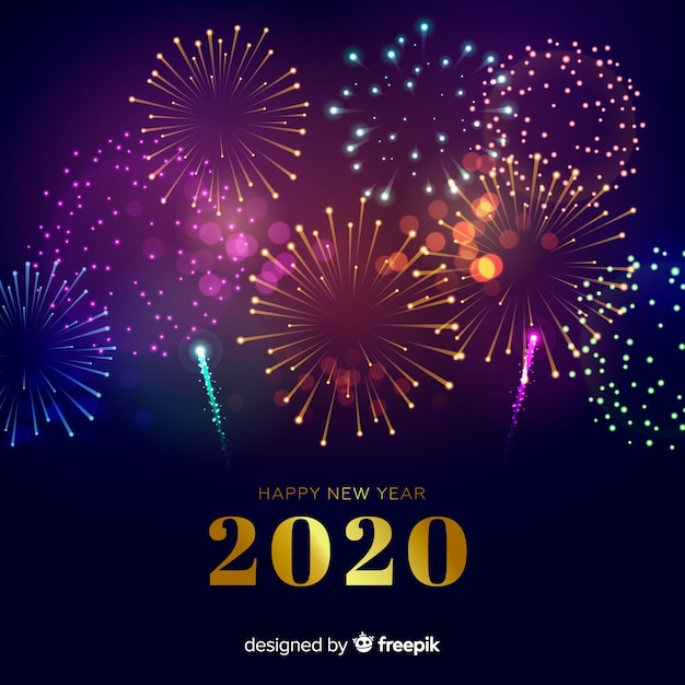 New year concept with fireworks Free Vector