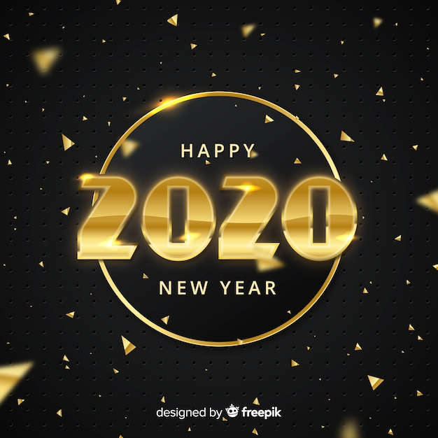 New year concept with golden design Free Vector
