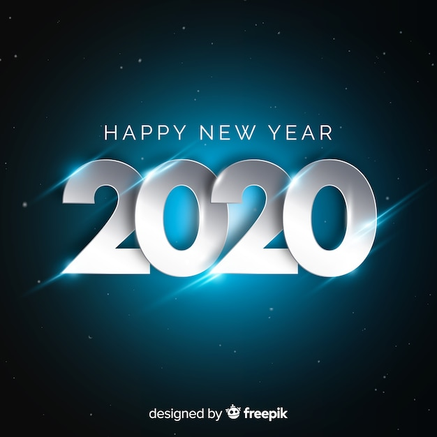 New year concept with silver design Free Vector